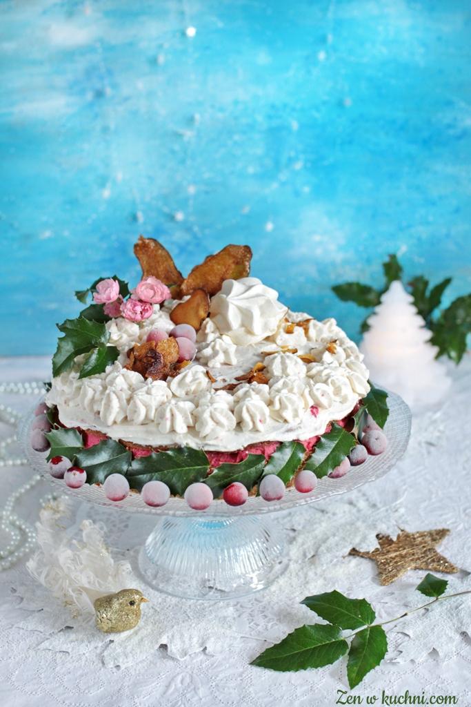 tort z żurawiną i różą