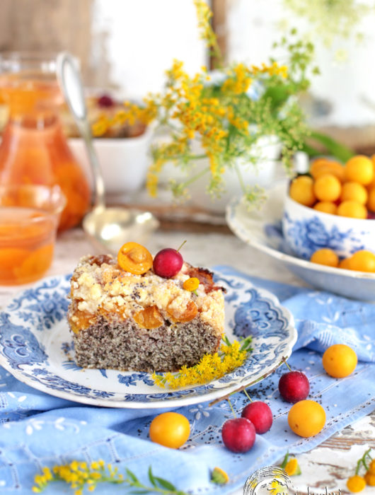 ciasto makowe z mirabelkami