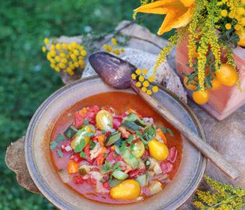 leczo z cukinii, papryki i pomidorów